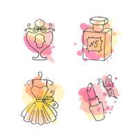 Collezione abbozzata a mano di elegante set di doodle francese