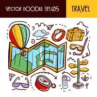 Icona di scarabocchi di viaggio. Illustrazione vettoriale Set