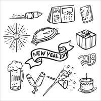 Nuovo anno 2019 Doodle Icon Set vettore