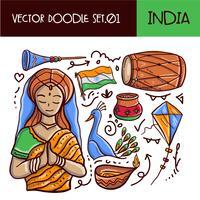 Set di icone di Doodle giorno Repubblica indiana. Stile disegnato a mano di vettore
