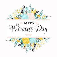 Giornata internazionale della donna. Modello di vettore con fiori e lettere.