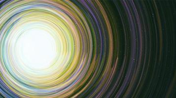 buco nero con galassia a spirale su sfondo cosmico. Pianeta e concetto di fisica, illustrazione vettoriale. vettore
