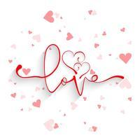 Bella carta amore sfondo con disegno di cuori