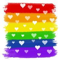 Cuori su sfondo acquerello arcobaleno vettore