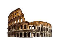 colosseo a roma, italia, disegno colorato, realistico. illustrazione vettoriale di vernici