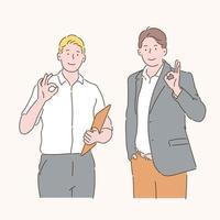 due uomini d'affari stanno firmando ok. illustrazioni di disegno vettoriale stile disegnato a mano.