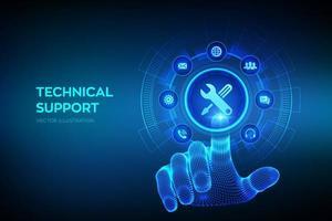 supporto tecnico. assistenza al cliente. supporto tecnico. servizio clienti, business e concetto di tecnologia. interfaccia digitale commovente della mano del wireframe. vettore