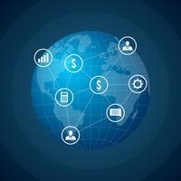 Illustrazione vettoriale di rete aziendale globale