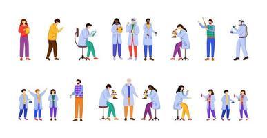 esperimenti scientifici piatto illustrazione vettoriale set. chimica a scuola. attività per bambini. condurre ricerche. studiare biologia, chimica personaggio dei cartoni animati isolato su sfondo bianco