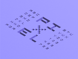Alfabeto isometrico 3D Pixel vettore
