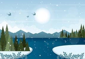 Illustrazione di paesaggio invernale vettoriale