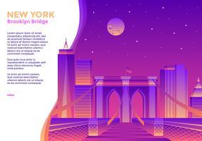 Vettore di New York del ponte di Brooklyn