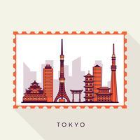 Illustrazione piana di vettore del bollo del paesaggio della città di Tokyo
