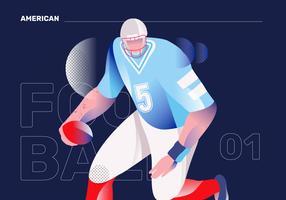 Illustrazione piana di vettore del carattere americano di Footbal