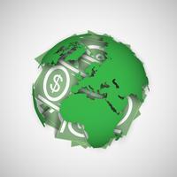 Illustrazione vettoriale di terra e denaro