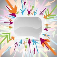 Bolla di discorso astratto 3D con frecce colorate vettore