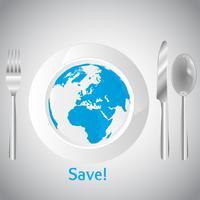 Mondo sul concetto di piatto bianco pulito vettore