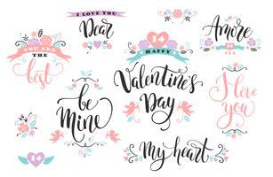 Buon San Valentino. Set di iscrizioni disegnate a mano.