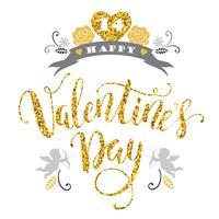 Buon San Valentino. Disegno di iscrizione disegnata a mano con texture glitter.
