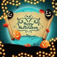 buon halloween, cartolina con vecchia pergamena, foglie autunnali e palloncini di halloween sullo sfondo di una grande luna piena blu vettore