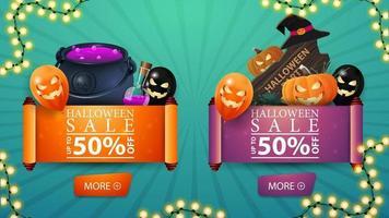 due sconti halloween bvnner sotto forma di rotolo di pergamena. cartello in legno, calderone della strega, jack zucca e palloncini di halloween vettore