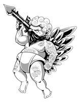 tattooed cupidon vector art