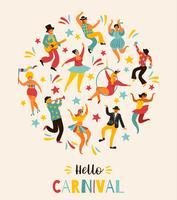 Ciao Carnevale Illustrazione vettoriale di ballo divertente uomini e donne in costumi luminosi.