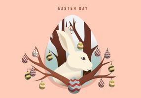 Coniglio nel vettore della decorazione del fondo di Pasqua