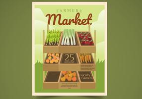 Illustrazione di vettore del mercato dell'agricoltore di progettazione dell'aletta di filatoio