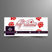 Modello di banner elegante timeline facebook di San Valentino felice astratto vettore