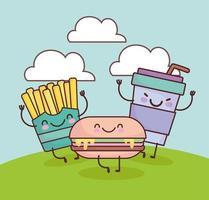 patatine fritte carine burger soda soda vettore