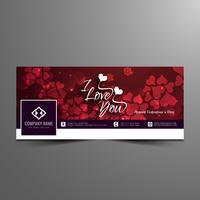 Astratto felice San Valentino bella facebook timeline banner template vettore