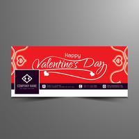 Astratto felice San Valentino elegante facebook timeline banner template vettore