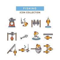 collezione di icone di pesca vettore