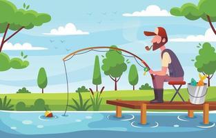 uomo che pesca nel lago vettore