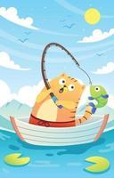 simpatico gatto che pesca nel lago vettore