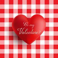 Cuore di San Valentino su un modello di percalle rosso e bianco vettore