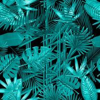 Modello senza cuciture con foglie di palma tropicale su sfondo nero.