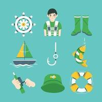 set di modelli di icone di pesca vettore