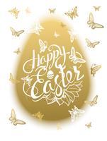 Iscrizione Happy Easter intorno a farfalle multicolori dell'acquerello vettore