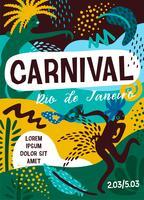 Carnevale del Brasile. Illustrazione vettoriale con elementi astratti alla moda.