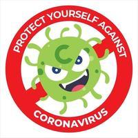 firmare cautela per il coronavirus covid-19. proteggiti dall'icona del coronavirus. consapevolezza del pubblico sul coronavirus vettore