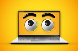 Emoticon alto-dettagliato osserva su uno schermo del taccuino, illustrazione di vettore