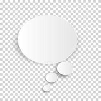 icona nuvola, bolla di pensiero bianca su sfondo trasparente controllato per il design infografico. illustrazione vettoriale