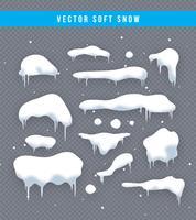 Set di tappi di neve, palle di neve e cumuli di neve. Raccolta di vettore di cappuccio di neve. Elemento di decorazione invernale Elementi nevosi su sfondo invernale. Modello di cartone animato Nevicate e fiocchi di neve in movimento. Illustrazione.