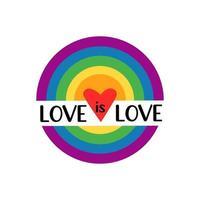 l'amore è amore citazione. arcobaleno lgbt con bandiera a colori di gay, lesbiche, bisessuali e transgender isolati su sfondo bianco. illustrazione piatta vettoriale. design per banner, poster, biglietti di auguri, volantini vettore