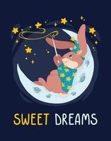 il mago del coniglio con la bacchetta magica fa le stelle nel cielo sdraiato sulla luna. mago coniglietto con cappello da strega seduto sulla mezzaluna. illustrazione vettoriale bambini poster e vestiti della scuola materna. sogni d'oro.
