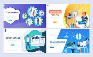 Set di modello di pagina di destinazione per lavoro di squadra, reclutamento, brainstorming, coworking vettore