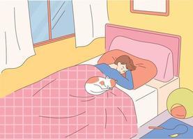 un uomo è sdraiato sul letto e guarda un simpatico gatto che dorme accanto a lui. stile design piatto minimo illustrazione vettoriale. vettore