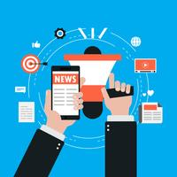 Notizie in linea, giornale, illustrazione piana di vettore del sito Web di notizie